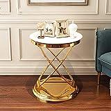 ZJJ Wohnzimmer Luxus Beistelltisch Runder Beistelltisch Telefontisch Ecktisch Nachttisch 50 * 55.5CM (Farbe : Weiß)