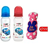 Gilli Shopee Bottle Cover Free With Mee Mee Premium Baby Feeding Bottle, 250ml Pack Of 2 (Blue & Red)