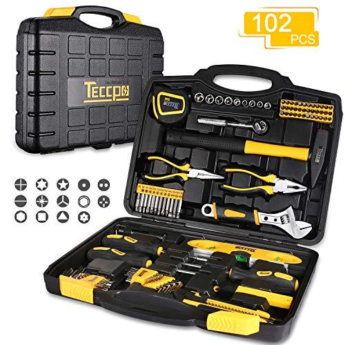 Caja de Herramientas, TECCPO 102 piezas Kit de Herramientas con llaves, Juego de Destornilladores de Precisión, Martillo, Alicates, Ideal para Reparaciones del Hogar