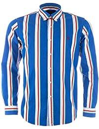 Chemise Ralph Lauren � manches longues Oxford pour homme en bleu et rouge