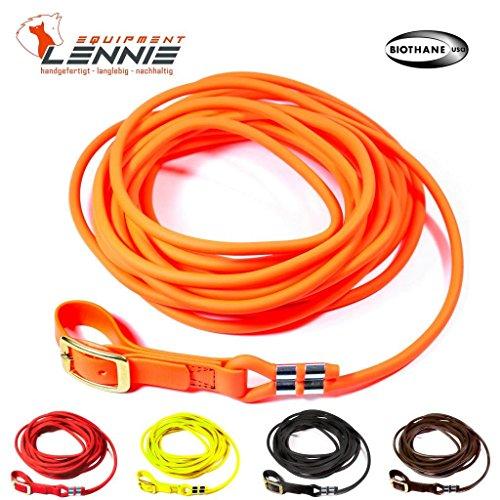 LENNIE BioThane Schweißleine 8 mm rund in 5 Farben [Neon-Orange] / 5-30 Meter [10m] / Messingschnalle genäht - Verknotet Schnalle