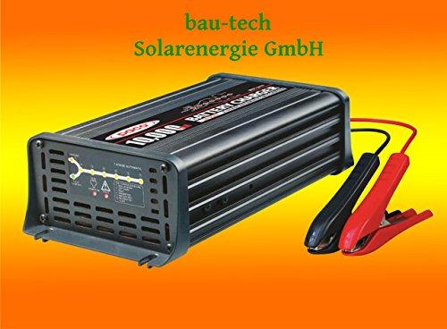 Batterieladegerät 12V, 10 Amper, 7-Stufen IUoU Automatik, Blei Calcium VRLA AGM GEL Nass von bau-tech Solarenergie GmbH (Automatisches 12 Volt Batterie-ladegerät)
