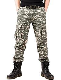 Pantalones De Carga De Los Hombres Pantalones De Algodón Rectos Casuales Multi Pocket Camo De Combate Al Aire Libre Desgaste De Trabajo Flojo