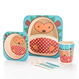 all Kids United Kindergeschirr-Set aus Bambus-Geschirr für Kinder Kindergeschirrset aus Bambus Set 5-teilig; Igel
