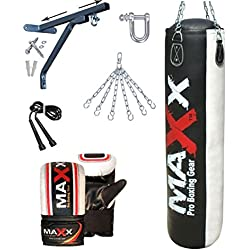 5pcs Punch bag set 5ft Blk/White Rex Leather boxing punchbag wall Bracket & Gloves