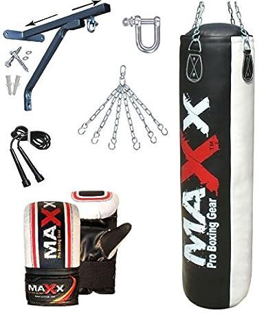 5pcs Punch bag set 5ft Blk/White Rex Leather boxing punchbag