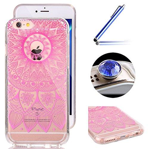 """iPhone 6S Transparent Coque, iPhone 6 Dur Housse pour Fille ,ETSUE Joli Diaphane Dos Dur + Doux Soft TPU Cadre Case Cover étui pour iPhone 6/6S 4.7""""+ 1 x Bleu stylet + 1 x Bling poussière plug (couleu Fleur Mandala Rose"""