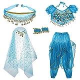 Baoblaze Traje de Danza de Vientre para Niñas Ornamentos con Borla de Moneda Artificial Disfraz de Fiesta Halloween Festivales - Azul, M