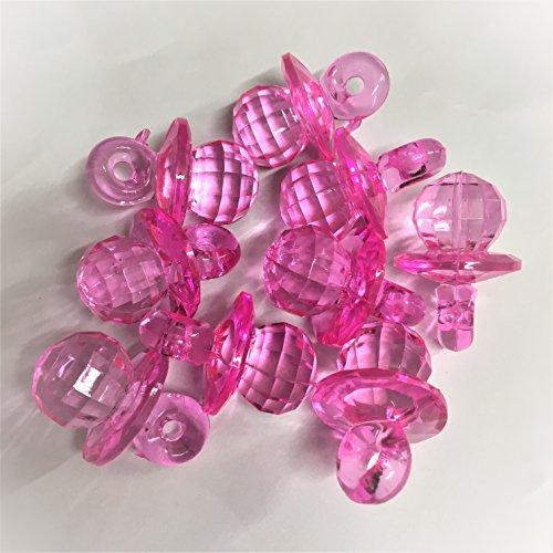 10x 3cm Kristall, dunkles Rosa Farbe Schnuller Zauber, die Kunststoff Schnuller Clips (Rosa Kristall Schnuller)