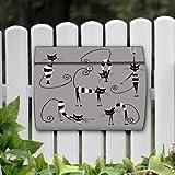 motivx Briefkasten Edelstahl bunt Zeitungsfach Design Wandbriefkasten Swing mit Motiv - Illustration Katzen