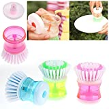 AVMART Cleaning Brush with Liquid Soap Dispenser, Self Dispensing Cleaning Brush for floors,Kitchen,Laundry and other Household Chores.(Pink)