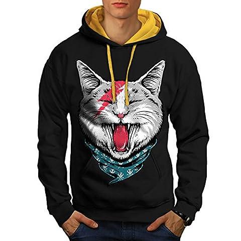 Mode Donner Cool Katze Herren M Kontrast Kapuzenpullover | Wellcoda