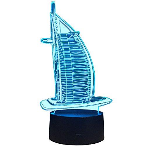 InnoWill Segeln Deko Geschenk LED Lampe 7Colors USB und Batteriebetriebene