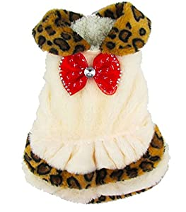 Pet vêtements pour chien chat Leopard/fourrure robe Petit Costume pour chien XS S M L XL