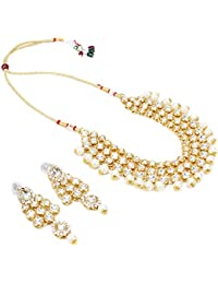 Aradhya Traditional Designer Gold Plated Kundan Necklace Set With Earrings And Maang Tikka For Women And Girls …