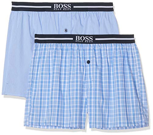 BOSS Herren Nos Boxer Ew 2P Schlafanzughose, Blau (Open Blue 471), Large (2erPack) -