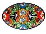 Mexikanische Handwerkskunst: Servierplatte oval, mittel, handbemalt, hellgrün