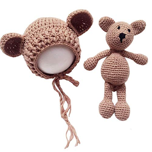 Frecoccialo Unisex Neugeborene Fotografie kostüm Gestrickte Mütze und Puppe Set Fotoshooting Requisiten Funny Bekleidung (0-2M)