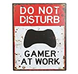 zeitzone Blechschild DO NOT Disturb Gamer at Work Vintage 25x20cm