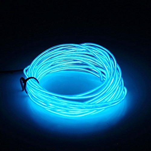 ILOVEDIY 3M Fil Neon Flexible Led Lumière Bande de Corde Light À Piles EL Wire avec Boîte de Contrôle pour Voiture Décoration Fête Club Restaurant Café Jardin (Bleu clair, 3M)