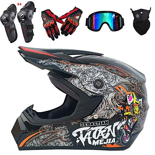 QYTK Motocross Helm Herren Integralhelm Graues Monster, CK-20 Off-Road Enduro Motorradhelm Set mit Visier Brille Maske Handschuhe Knieschoner Ellenbogenschoner für ATV MTB Motorrad,L(56~57CM)