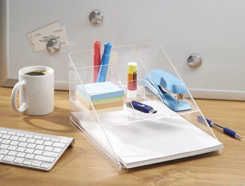 mDesign Organizador de Escritorio Transparente - Organizador de Oficina con 5 Compartimentos y Bandeja para Papel - Práctico Organizador de Material de Escritorio