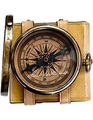 '' De Robert Frost Poem '' Brass Gravé Compass avec Embossed & Needle avec étui en cuir. C-3240