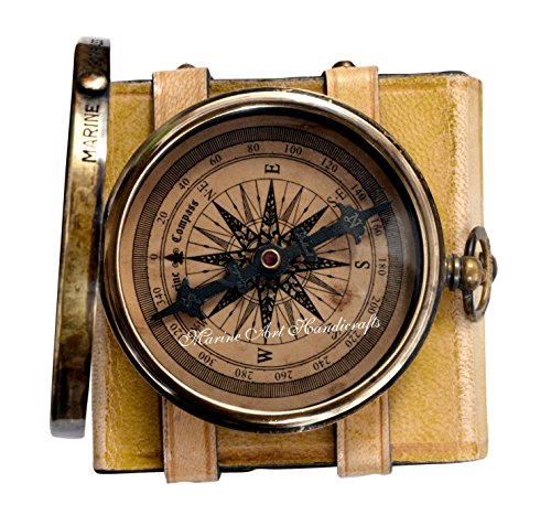 ''Robert Frost Poem'' Best Christmas Gift Engraved Brass Compass with Embossed Needle & Leather Case. C-3240 by Maritime Museum Store