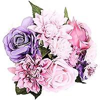 Flores de seda: rosa y dalia para ramos de bodas, decoración del hogar,