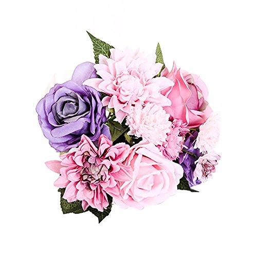 Li Hua Cat Strauß aus künstlichen Dahlien- und Rosen-Seidenblumen, im Vintage-Stil, für Hochzeit oder als Dekoration, plastik, violett, 12*12