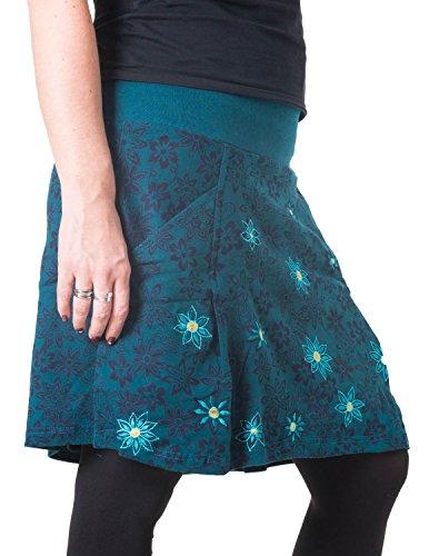 Vishes – Alternative Bekleidung – Warmer Herbst/Winter Rock aus Baumwolle – mit Blumen bestickt türkis 44/46 (Rock Hippie Bestickt)