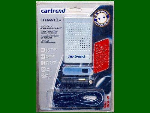 """SPANNUNGSWANDLER MIT USB-OUT \""""12V AUF 230V\"""" MIT BATTERIEWÄCHTERFUNKTION! VON CARTREND: MODELL \""""TRAVEL\"""""""