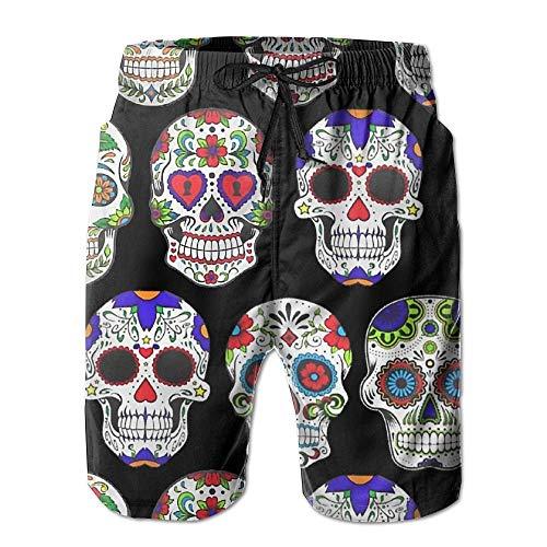 Skull Roses Hombres Surf de Verano Trajes de baño Pantalones Cortos de...