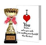 #10: TiedRibbons® Valentine Gifts for Girlfriend Best Girlfriend Engraved Golden Trophy with Greeting Card