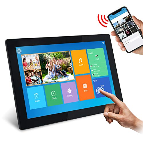 """WiFi Digitaler Fotorahmen, SSA 10.1\"""" Touchscreen 1280 * 800 Integrierter 16 GB Speicher Hoch- und Querformat Sofortiges Teilen von Fotos und Videos"""