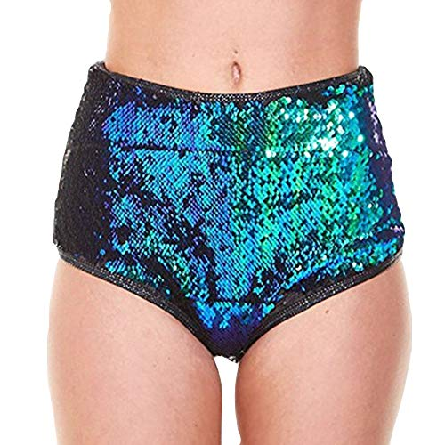 Sommer Shiny Pailletten Hotpants Metallic Locker Hohe Taille Yoga Sporthose Einfarbige Tasche Leder Shorts Hose Sommerhosen Pants Kurz Hosen Leggings ()