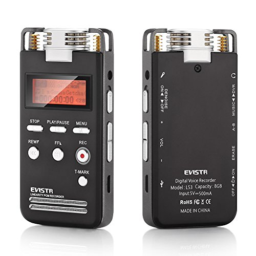 EVISTR-Digital-Voice-Activated-Recorder-8GB-Portable-Dictaphone-High-Quality-Sound-Recorder-1536Kbps-PCM-Linearity-Stereo-Voice-Recorder-Labeling-of-Recording-Bookmark-with-MP3-Player-Dual-Microphone