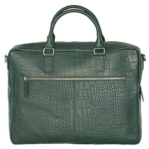 manbefair FAIR TRADE Öko Leder Laptoptasche New Jersey Aktentasche, Notebooktasche, Umhängetasche 45x32x7 cm (BxHxT) grün croco (grün croco) grün croco