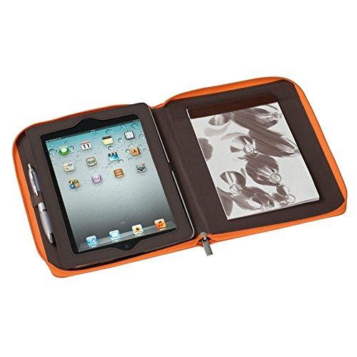 Trendige Tablet Schreibmappe mit Reißverschluss, Block , orange