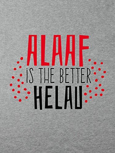 clothinx Damen T-Shirt Karneval Helau is The Better Alaaf Sports Grey mit rot/schwarzer Schrift