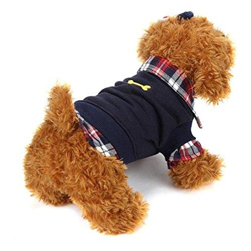 (Haustierkleidung,Hund Katze Hemd Winter warm Kleidung Pullover Kostüm Jacke Mantel von Sannysis (schwarz, XL))