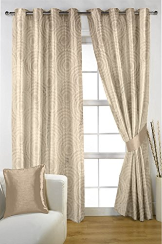 HOMEC Decorous Jacquard Single Curtain - 1 Piece (Size - Window 46 X 60 inch/Color - Beige)