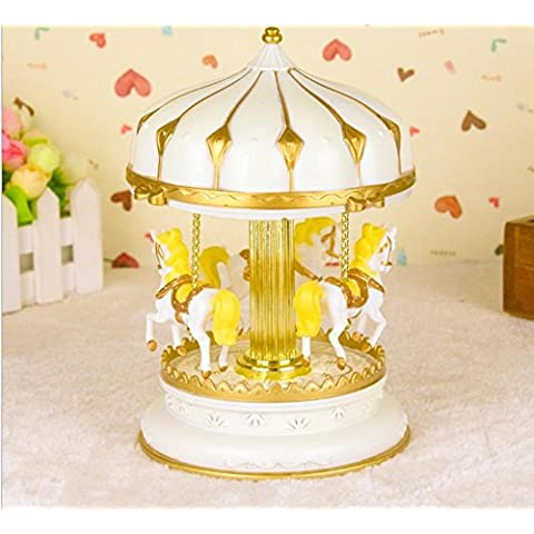 MYM 3-cavallo giostra carillon, viola & giallo & bianco ombra, giocare il castello nel cielo Tune, ModelMY34103 , 2