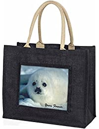 Snow Seal 'Yours Forever' Large Black Shopping Bag Christmas Present Idea
