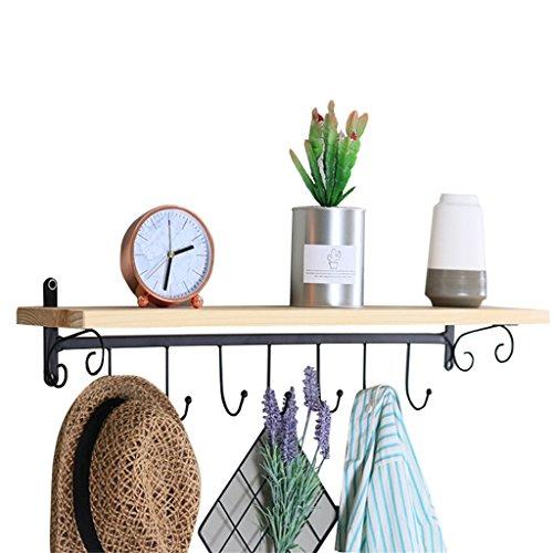 Étagère murale en bois avec crochet Crochets métalliques noirs étagère suspendue pour chambre à coucher comme étagère de rangement Rack Vintage décorations industrielles Design (taille : 80×12cm)