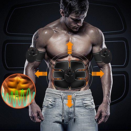 Muskel Trainer, Milota Abdominal EMS Muskel Elektrostimulator Muskelaufbau und Fettverbrennungn Massage-gerät Körper Fitness Training Schlankheits-Maschine, Home Gym Übung Ausrüstung für Männer Frauen