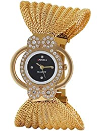 Freny Exim Crystal Accented Black Dial Unique Golden Strap Bracelet Women's Watch For Girls