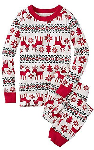 ECOWISH Weihnachten Schlafanzug Familien Outfit Mutter Vater Kind Baby Pajama Langarm Nachtwäsche Print Sleepwear Top Hose Set 121 Papa M