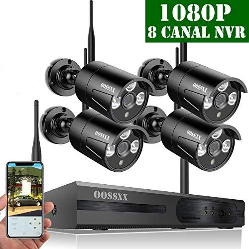 【2019 Neu】 Überwachungskamera Set System Videoüberwachung CCTV 1080P NVR Rekorder Überwachungskamera Outdoor Mit 4 1080P Innen/Außen IR Nachtsicht Bewegungsmelde,Kamera Durch OOSSXX, Nein HDD Outdoor-systeme