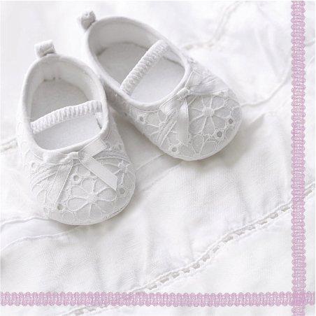 20 Servietten Babyschuhe rosa/Mädchen/Geburt/Taufe 33x33cm